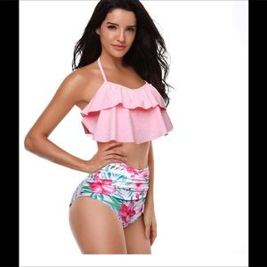 Retro two piece swimsuit high waisted bottoms